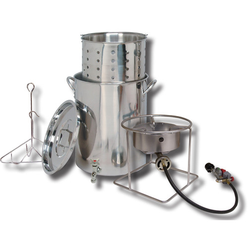 King Kooker #SS1267BSP - 30-Quart Stainless Steel Outdoor Cooker Pot with Spigot and Basket Package