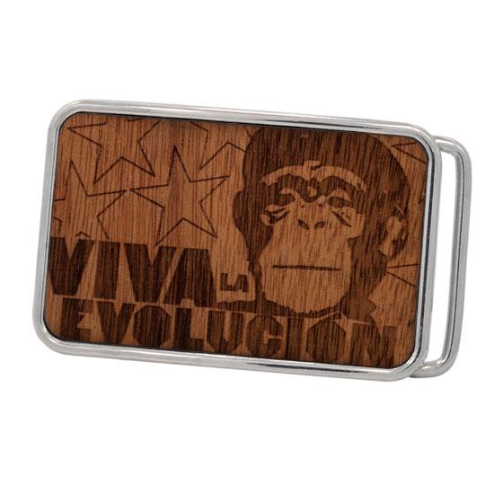 "Buckle Rage ""Viva La Evolucion"" Monkey Real Wood Rounded Rectangle Belt Buckle, POLISHED SILVER, W1009-162-SIL"