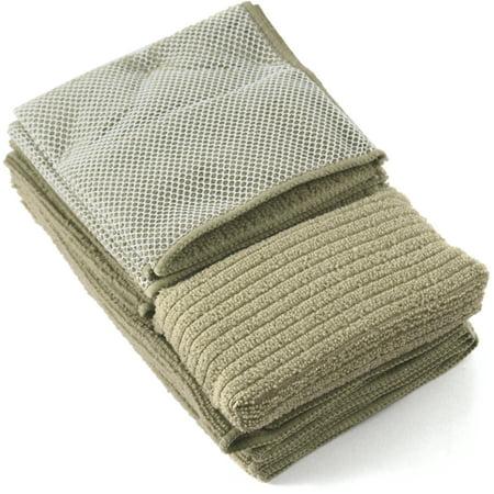 Iron Chef 6 Piece Beige Kitchen Towel Set Plus Bonus Scrubber