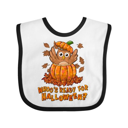 Whoo's ready for Halloween?- cute owl in a pumpkin Baby Bib White/Black One Size - Baby In Pumpkin
