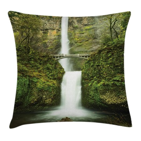Hobbits Throw Pillow Cushion Cover, Falls of Rivendell Multnomah Waterfall Oregon with Hobbit Elf Path Bridge Scene Image, Decorative Square Accent Pillow Case, 18 X 18 Inches, Green, by Ambesonne - Elf Scenes