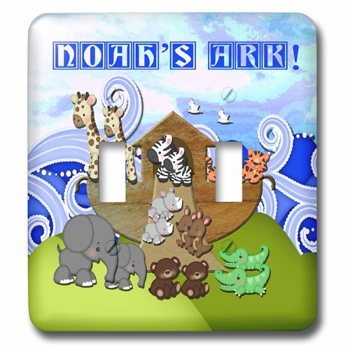 Image of 3dRose Animals on Ark, Noahs Ark, Double Toggle Switch