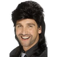 "26"" Black 1980's Style Decades Mullet Men Adult Halloween Wig Costume Accessory - One Size"