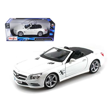 Mercedes Sl500 Convertible - 2012 Mercedes SL 500 Convertible Pearl White 1/18 Diecast Model Car by Maisto