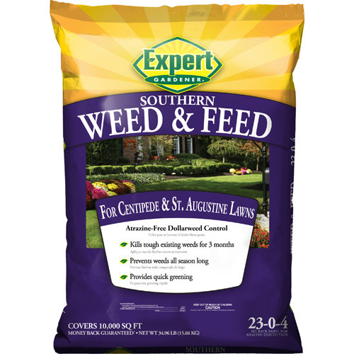 Expert Gardener 10,000 sq ft Weed & Feed Lawn Fertilizer for Southern Lawns (23-0-4), 34.86 lbs
