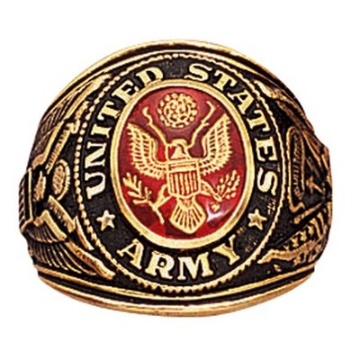 Deluxe Brass Engraved Ring - Army, 9