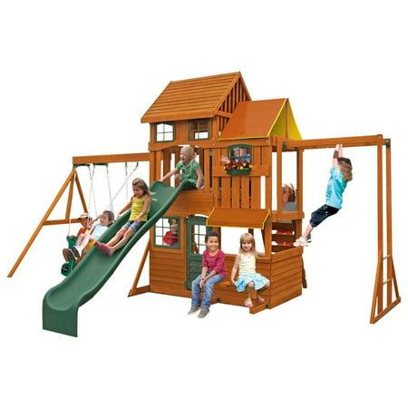 Cedar Summit Barrington Cedar Wood Swing Set By Kidkraft Walmartcom