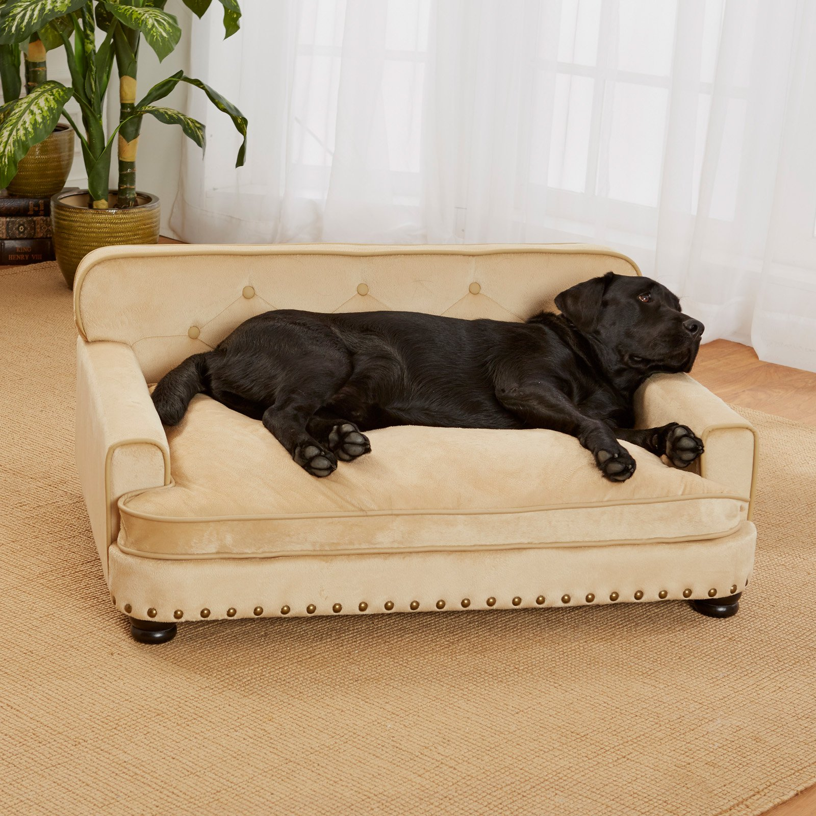 "Enchanted Home Pet Library Sofa Dog Bed, Large, 30""x40.5""x18"", Caramel"