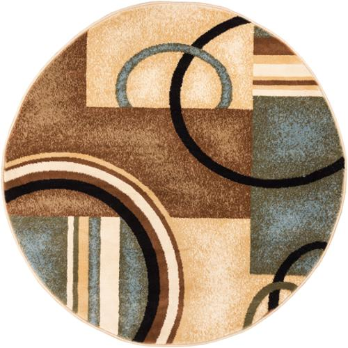 Generations Modern Abstract Circles Light Blue, Beige, Ivory, And Brown  Area Rug (