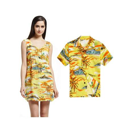 Matching Mother Son Hawaiian Luau Slip on Tunic Dress Boy Shirt Yellow Sunset L-14 - Buy Yellow Dress
