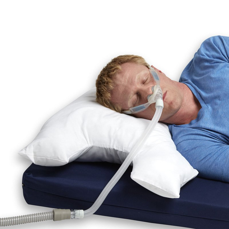 CPAP Breatheasy Pillow by Hermell Products; includes Cotton Zippered Cover