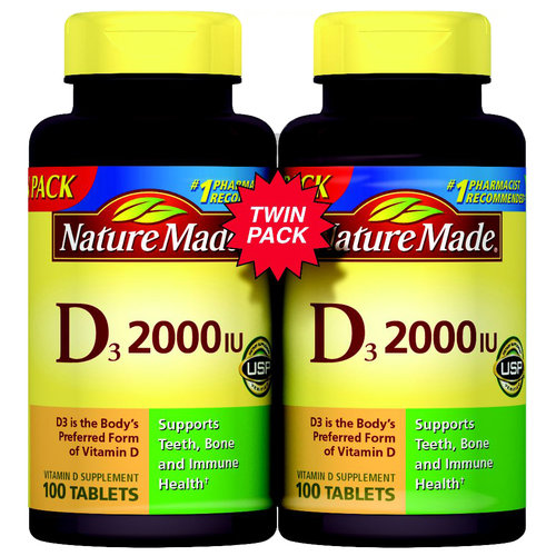 Nature Made D3 2000IU Twin Pack 200 Tablets