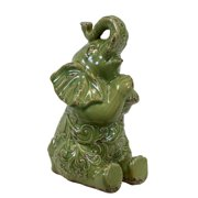 Urban Trends Ceramic Trumpeting & Sitting Up Elephant Figurine