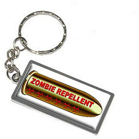 Zombie Repellent Bullet Red Hunting Keychain Key Chain Ring
