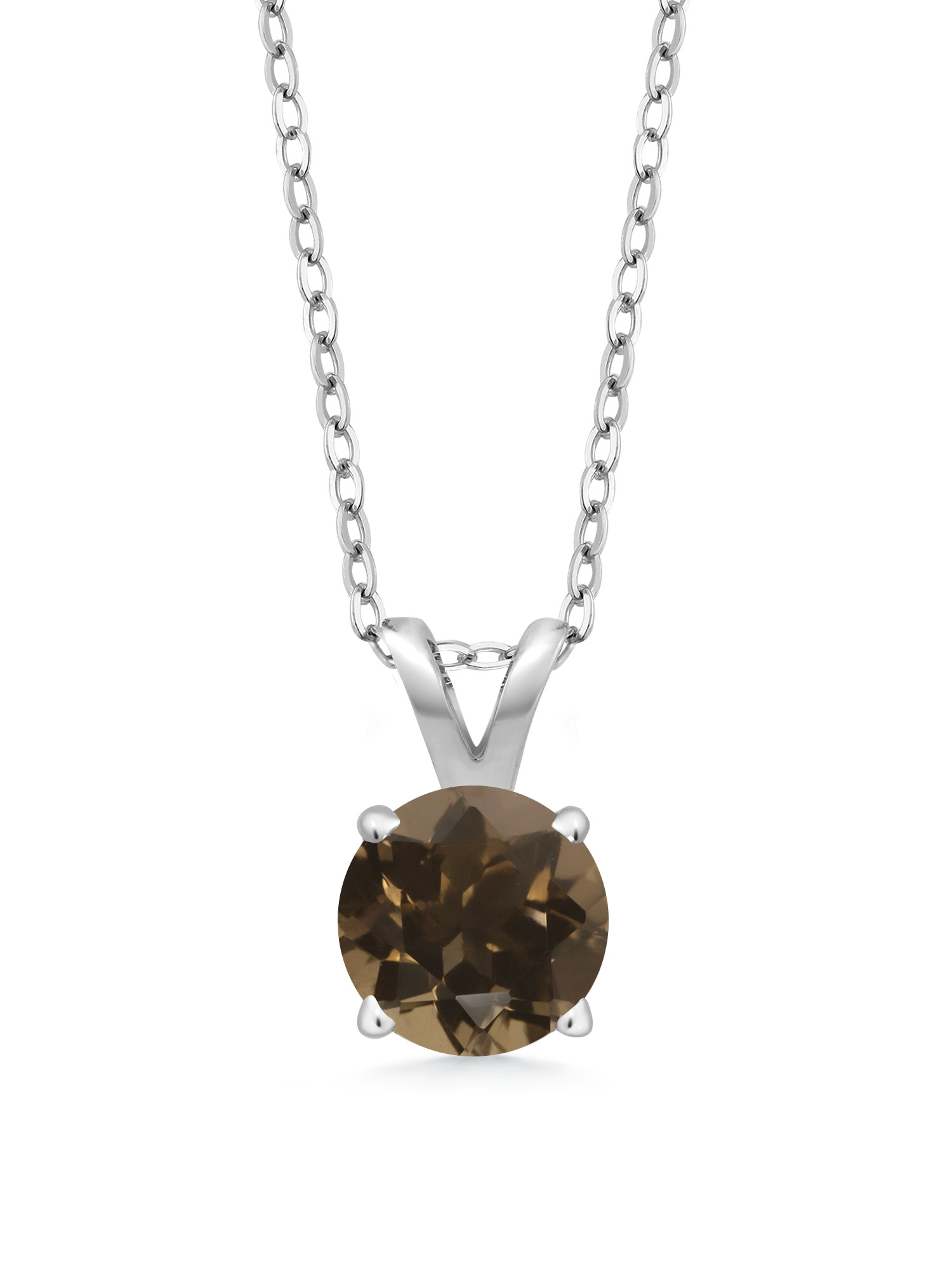 0.46 Ct Round Brown Smoky Quartz 925 Sterling Silver Pendant With Chain