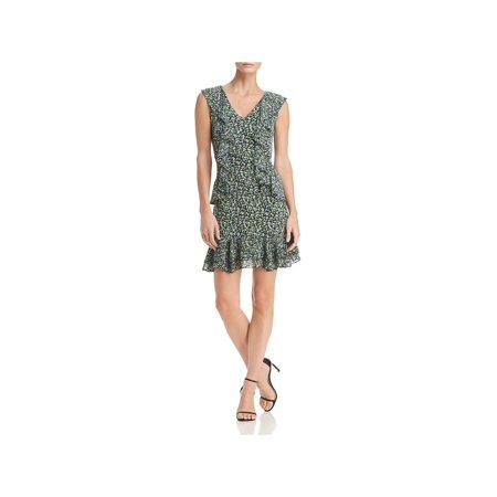 MICHAEL Michael Kors Womens Wildflower Floral Print Cascade Ruffle Flounce (Wildflowers Dress)