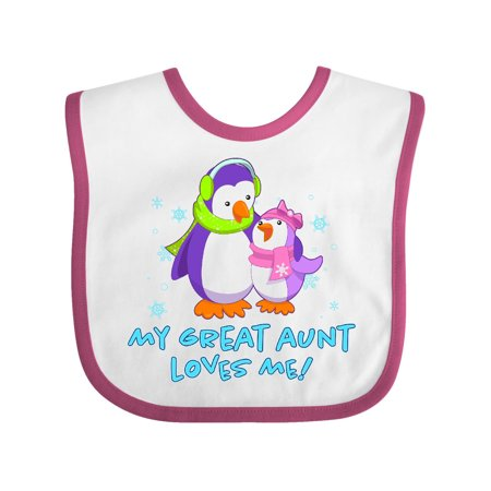Great Aunt Bib - My Great Aunt Loves Me! Cute Penguins Baby Bib