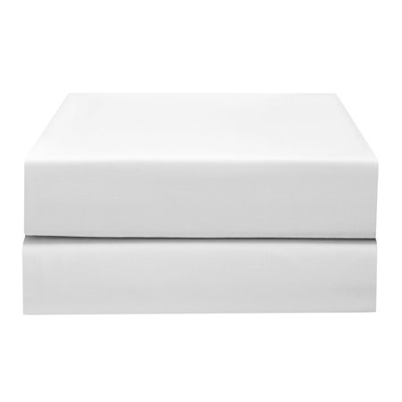 Pima Percale Collection - PHF Hotel Collection Fitted Sheet 200T Cotton Polyester Percale Deep Pocket Sheet 2 Sheets King Size White