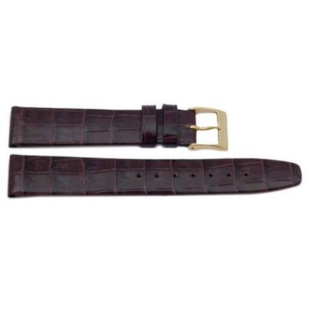 - Genuine Square Crocodile Grain Leather 12mm Dark Brown Watch Band