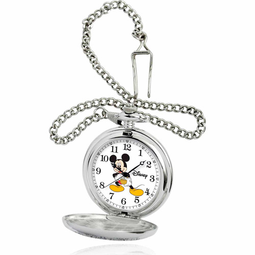 Disney Mickey Mouse Men's Pocket Watch, Silver Chain