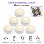 6Pack Wireless LED Puck Lights with Remote Control, Closet Lights Battery Operated, Kitchen Under Cabinet LED Lighting Wireless