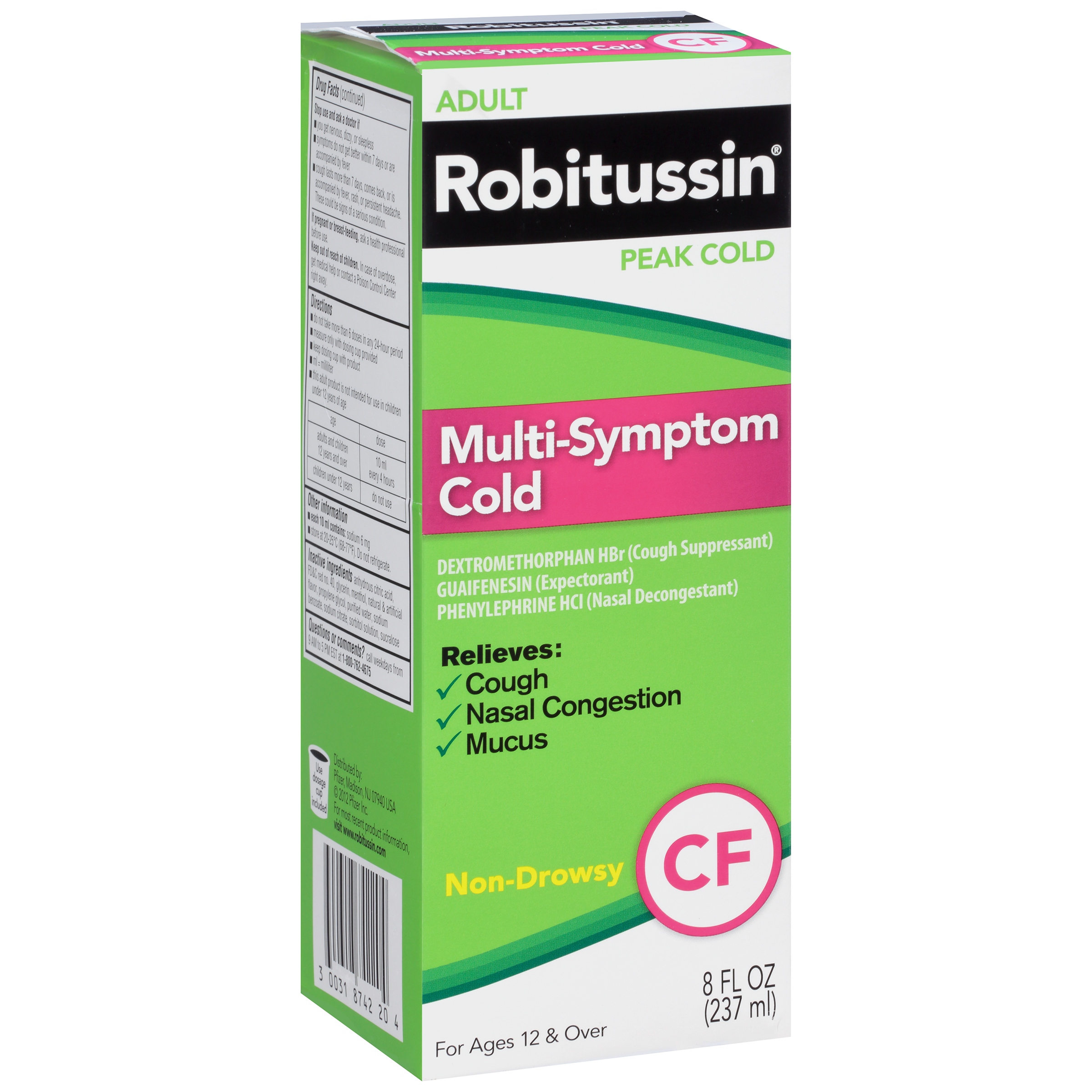 Robitussin Adult Peak Cold Non-Drowsy Multi-Symptom Cold CF Liquid, 8 fl oz