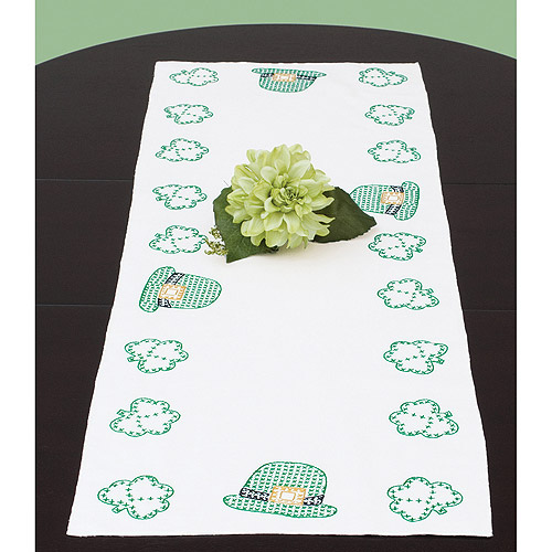 Stamped Table Runner/Scarf 15X42-St. Patricks Day Multi-Colored