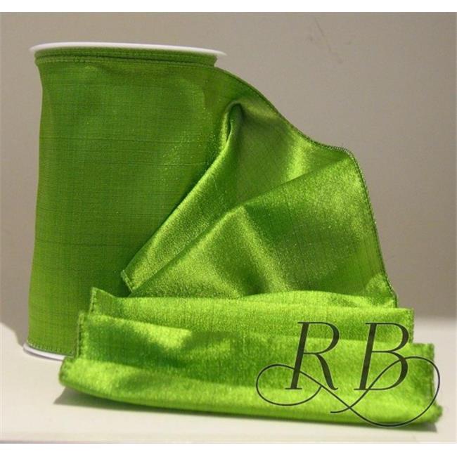 Ribbon Bazaar 2559 6 in. Wired Shiny Taffeta Plain Ribbon, Avocado - 10 Yards