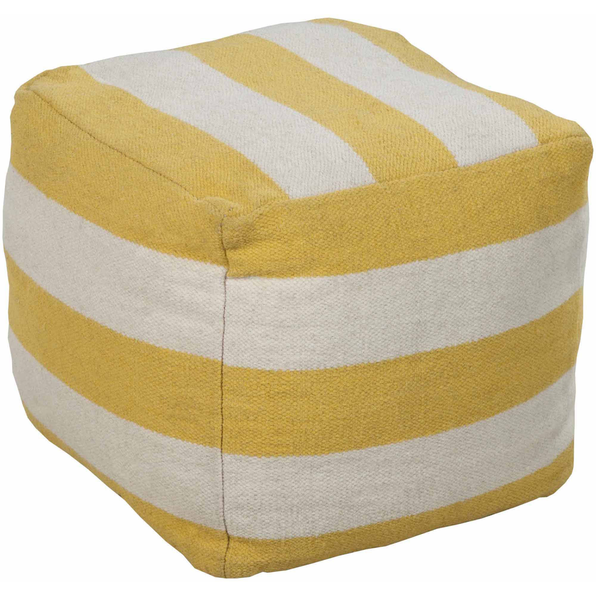 Libby Langdon Davenport Hand Made Striking Stripe Wool Pouf