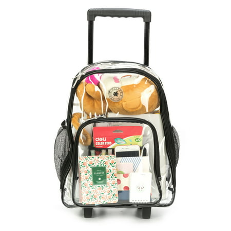 Rolling Clear Backpack Heavy Duty See Through Daypack School Bookbag with Wheels](Bookbag With Spikes)