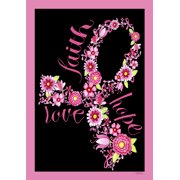 """Faith Hope Love House Flag Pink Ribbon Breast Cancer Awareness Floral 28""""x40"""""""