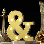 "Efavormart 6"" 3D Gold Marquee Letters 5 LED Light Up Letters Warm White LED Letter Lights"