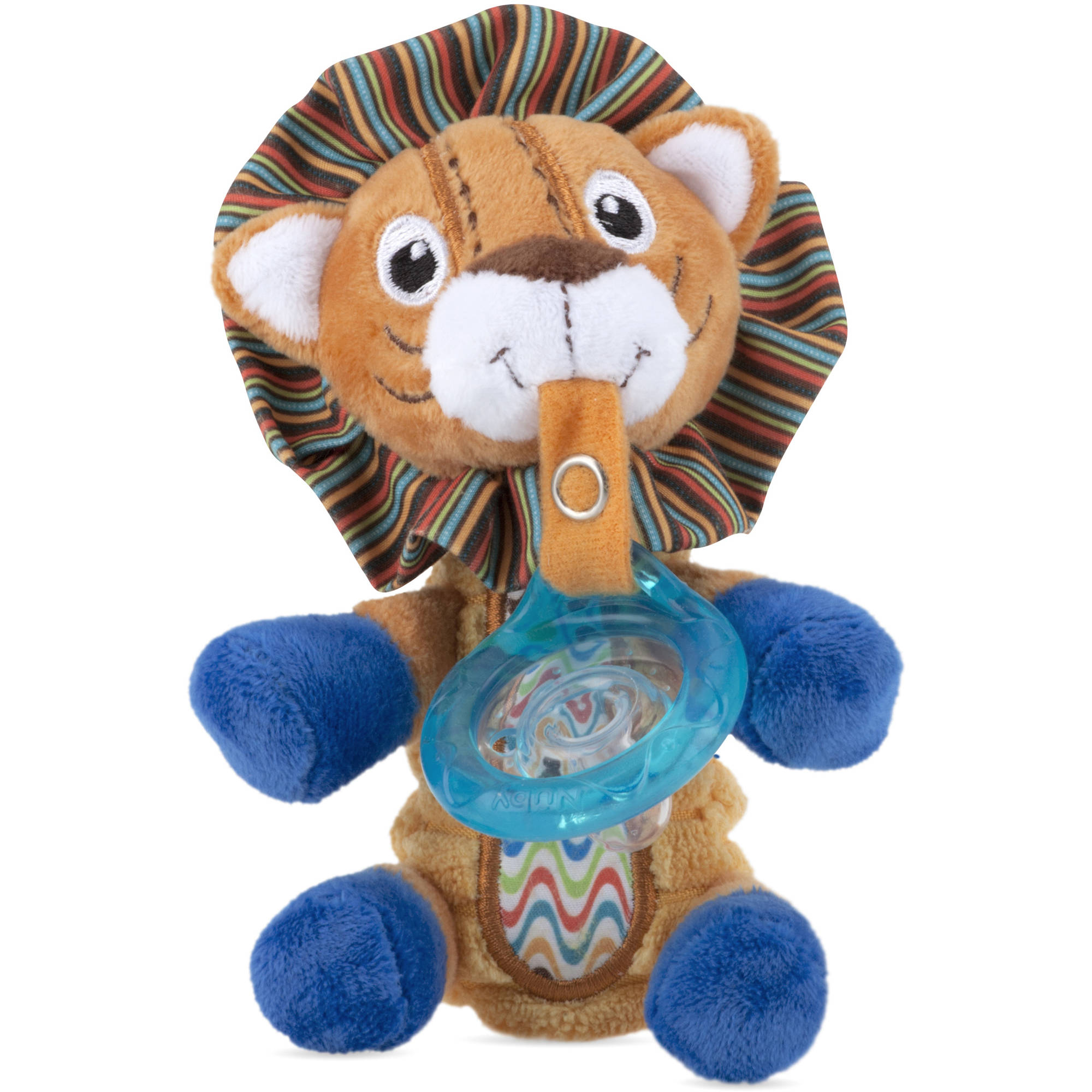 Snoozie Plush Pacifinder with Small Natural Flex Cherry Pacifier for 0-6+ Months, Lion