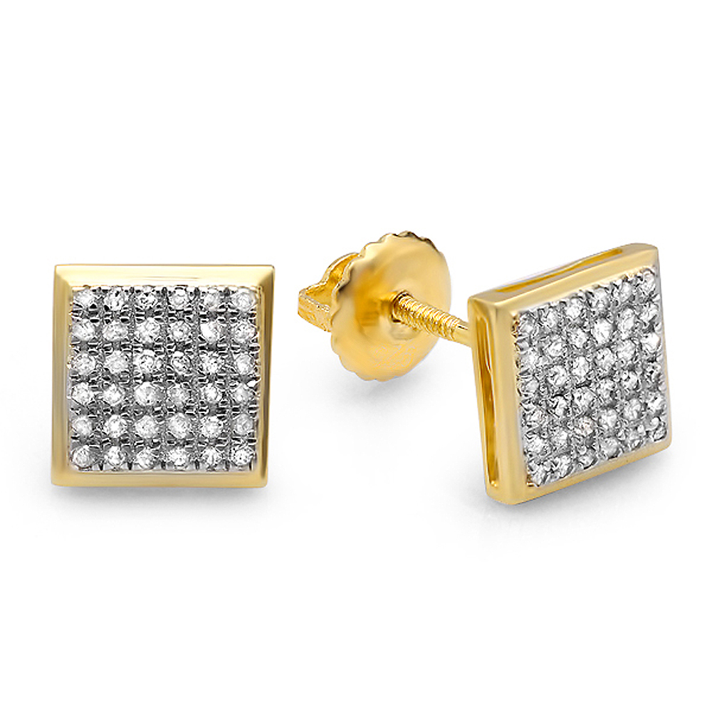 0.25 Carat (ctw) 18K Yellow Gold Plated Sterling Silver Round Diamond Micro Pave Setting Kite Shape Stud Earrings