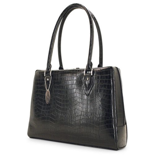 Mobile Edge Large Milano Handbag in Faux-Croc, Black