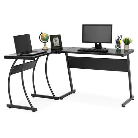 Best Choice Products 3-Piece L-Shaped Corner Computer Desk Workstation w/ Metal Frame, Foot Pads, (Best Computer Desk For 3 Monitors)