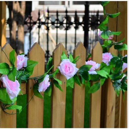 Artificial Fake Rose Silk Flower Green Leaf Vine Garland Ivy Vine Hanging Garland Home Wall Party Decor Wedding Garden Decoration Bouquet House Decor 240cm Light Pink Color:Light Pink