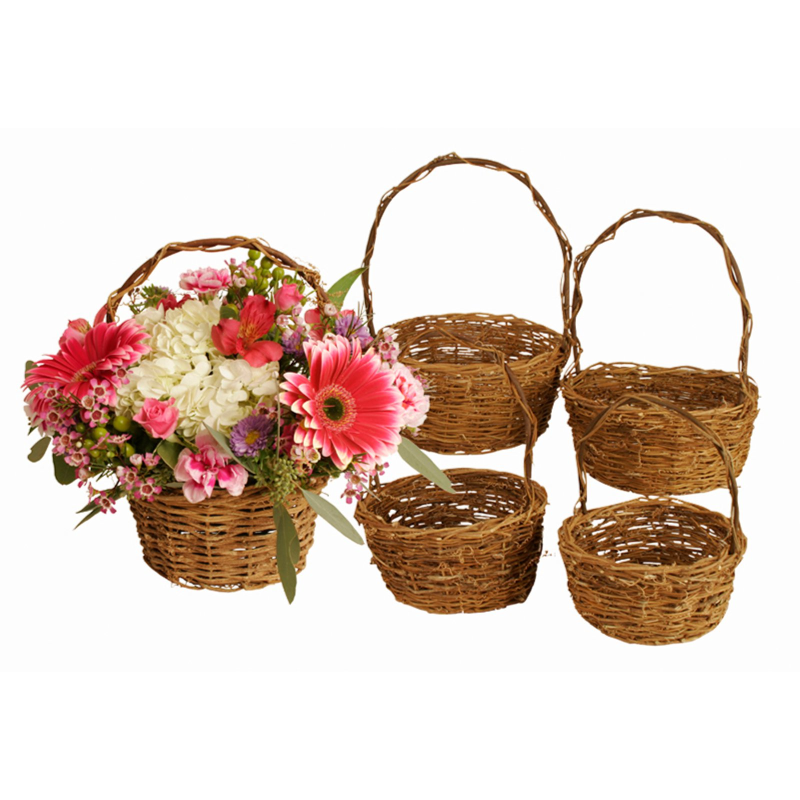 Wald Import Willow Basket with Handle - Set of 5