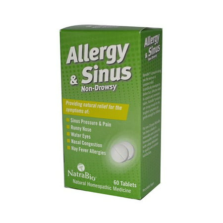 NatraBio Allergy & Sinus Homeopathic Formula | For Temporary Relief of Sinus Pressure & Pain, Congestion, Hay Fever Allergies | Non-Drowsy | 60 Tabs