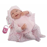 """JC Toys La Newborn 15.5"""" Soft Body Girl Baby Doll in Pink Kitty Outfit with Matching Kitty Blanket"""