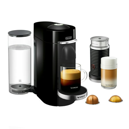DeLonghi Nespresso Vertuo Plus Deluxe Black Coffee and Espresso Machine with Aeroccino Milk Frother