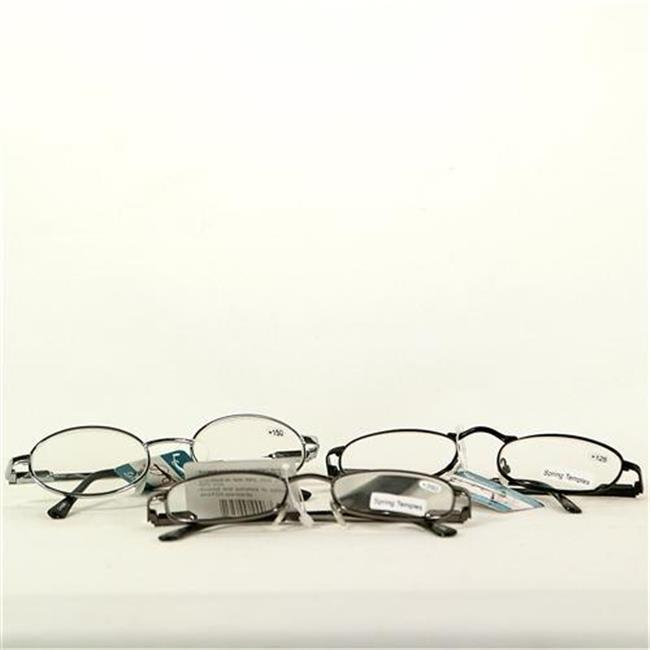 Bulk Buys Metal Reading Glasses 225 Power assorted Black  Silver and Gold Frames - Case of 12
