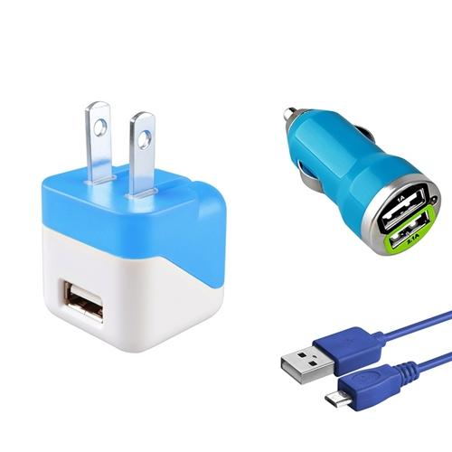 Micro USB Charger by Insten Blue AC Wall + Car Charger + 10' Charging Cable For Samsung S7 S6 S5 J3 J7 LG Stylo 3 Huawei Ascend XT2 XT Moto E4 Plus G5 G4 Play ZTE Majesty Pro Android Phone Universal