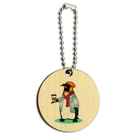 Cool Penguin Hipster with Coffee Wood Wooden Round Keychain Key Chain - Penguin Keychain