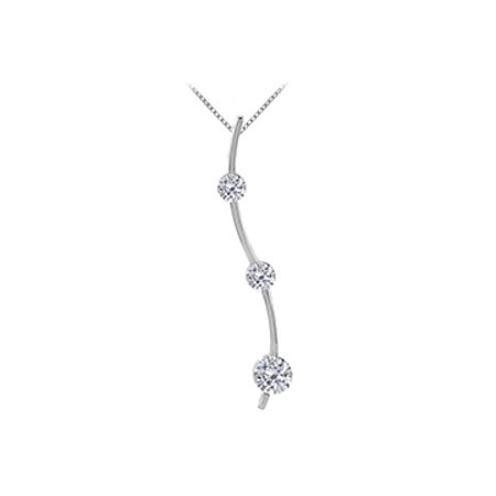 Three Stone CZ Journey Pendant in 14K White Gold 0.33 ct.TW - image 1 of 2