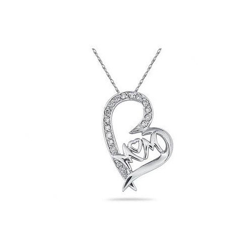 Szul Jewelry 10K Round Cut Diamond MOM Heart Pendant