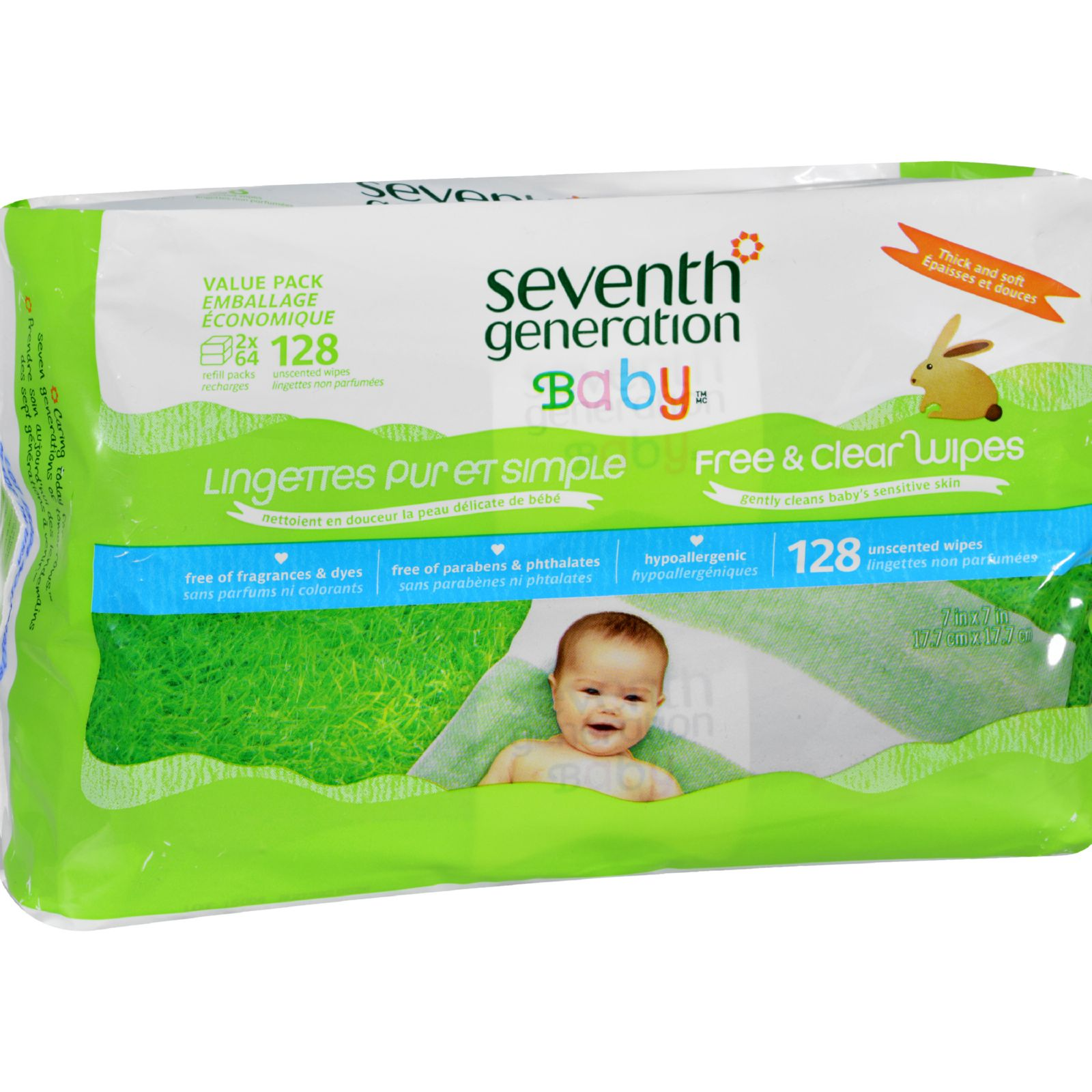 Seventh Generation Baby Wipes Free and Clear Refill 128 ct Case of 6 by Seventh Generation