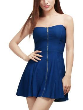 Women Sweetheart Neckline Exposed Zipper Front A-Line Dress Skirt Blue XS (US 2)