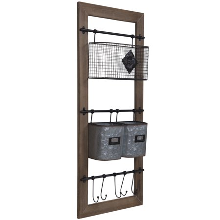 Gallery Solutions Metal and Wood Wall Organizer with Baskets and Hooks