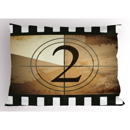 Movie Theater Pillow Sham Countdown Screen Illustration with Number 2 on Grunge Background, Decorative Standard Size Printed Pillowcase, 26 X 20 Inches, Pale Brown Black White, by Ambesonne